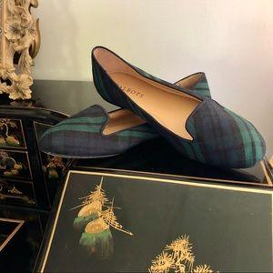 Talbots Tartan Plaid Canvas Slip on flat Loafers